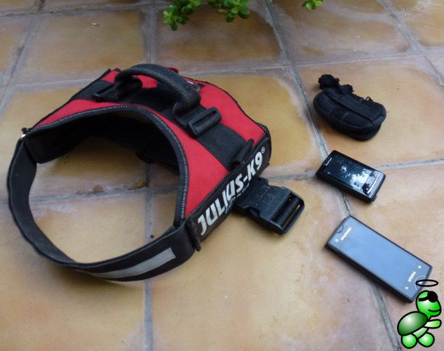 What you need: two Android mobile phones and a holster and dogs harness