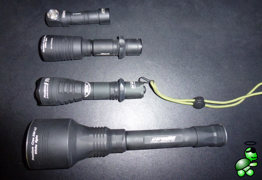 Size comparison (from top: Armtek Wizard, Armytek Viking Pro, Armytek Predator, Armytek Barracuda)